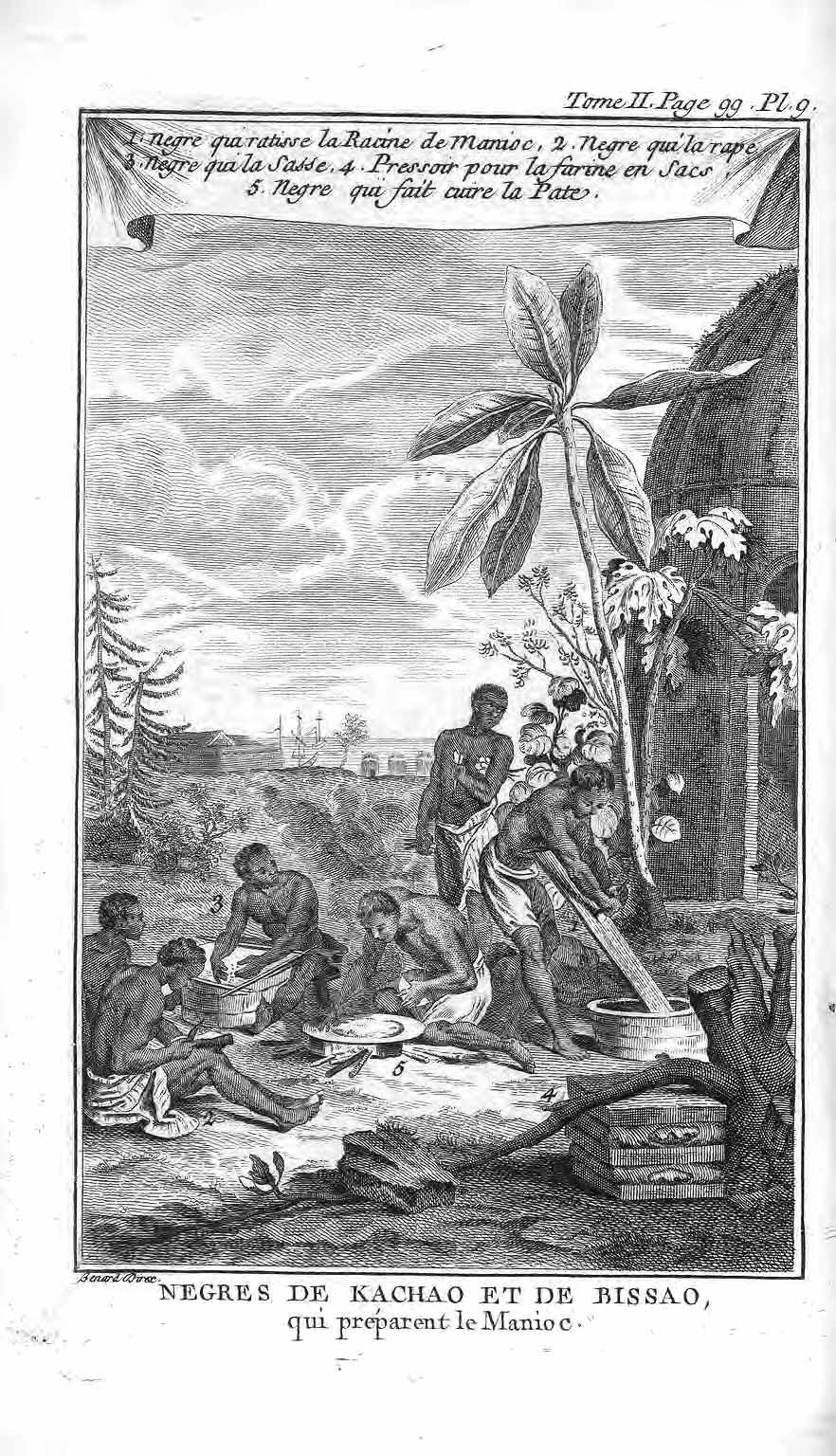 Nègres de Kachao et Bissao préparant le manioc