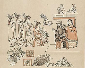 Cortes et La Malinche Lienzo de Tlaxcala