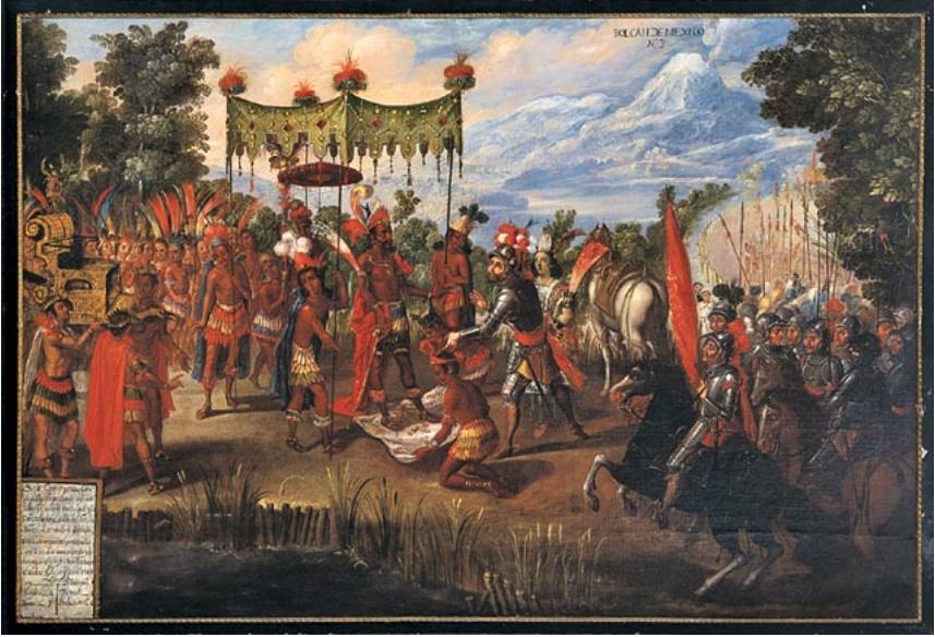 Fig 9 La rencontre de Cortés et Moctezuma